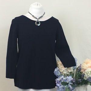 Ann Taylor Dark Navy Tie Back Sweater
